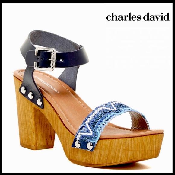 CHARLES DAVID LEATHER ANKLE STRAP PLATFORM SANDALS